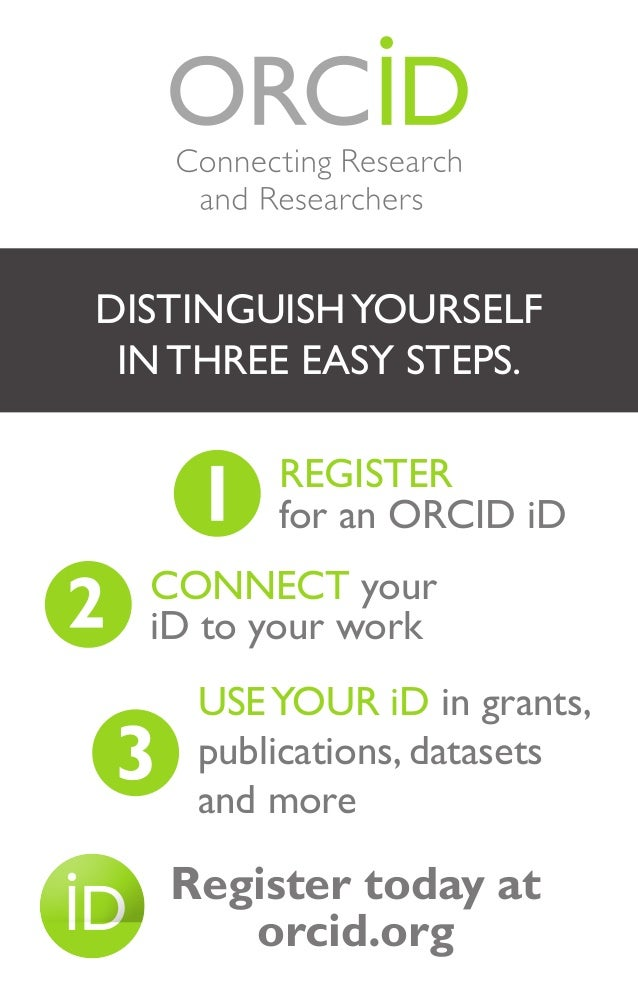 DISTINGUISHYOURSELF IN THREE EASY STEPS. REGISTER for an ORCID iD CONNECT your iD to your work USEYOUR iD in grants, publi...