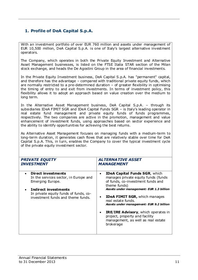 Dea capital financial statements to 31 december 2013 operations 11 fandeluxe Images