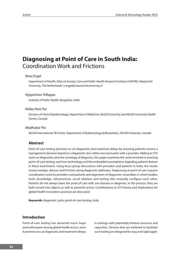 Diagnosing at Point of Care in South India: Coordination Work and Frictions