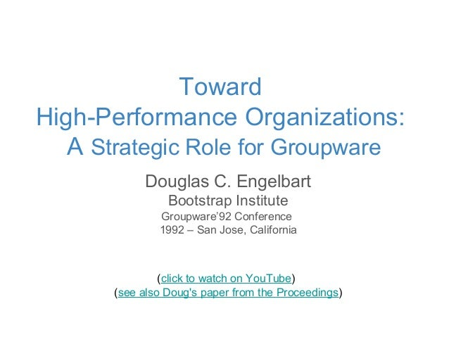 Douglas C. Engelbart Bootstrap Institute Groupware'92 Conference 1992 – San Jose, California (click to watch on YouTube) (...