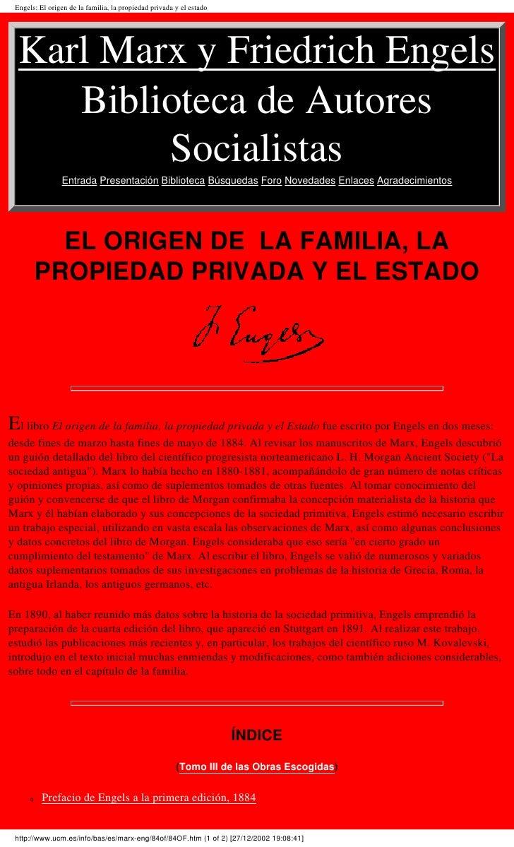 Engels: El origen de la familia, la propiedad privada y el estado       Karl Marx y Friedrich Engels      Biblioteca de Au...