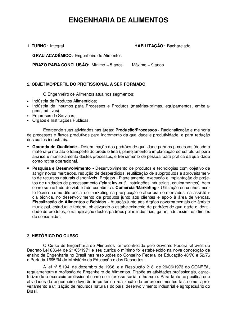 ENGENHARIA DE ALIMENTOS1. TURNO: Integral                                        HABILITAÇÃO: Bacharelado    GRAU ACADÊMIC...