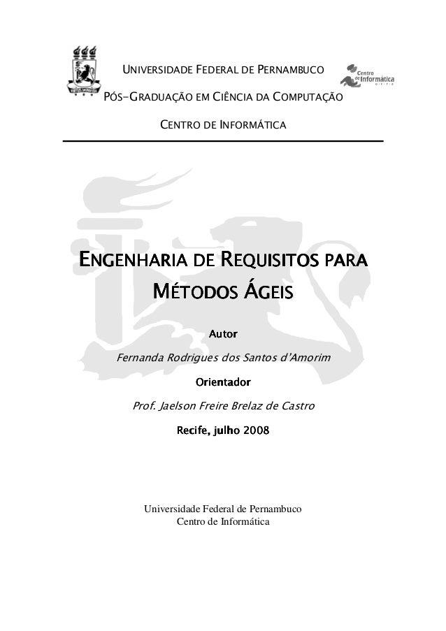 UNIVERSIDADE FEDERAL DE PERNAMBUCO PÓS-GRADUAÇÃO EM CIÊNCIA DA COMPUTAÇÃO CENTRO DE INFORMÁTICA EEEENGENHARIA DENGENHARIA ...