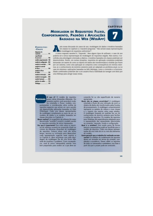 Engenharia de software 7° edição roger s.pressman capítulo 7