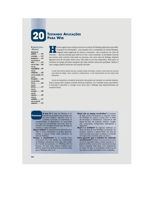 Engenharia de software 7° edição roger s.pressman capítulo 20