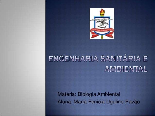 Matéria: Biologia Ambiental Aluna: Maria Fenicia Ugulino Pavão