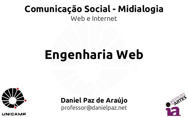 Comunicação Social - Midialogia  Web e Internet  Engenharia Web  Daniel Paz de Araújo  professor@danielpaz.net