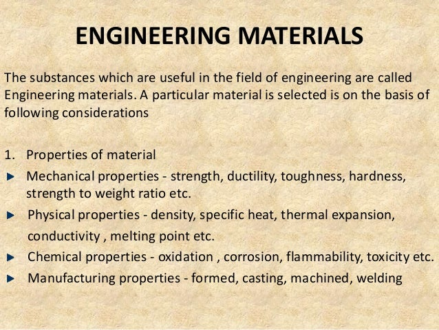 ENGINEERING MATERIALSThe substances which are useful in the field of engineering are calledEngineering materials. A partic...