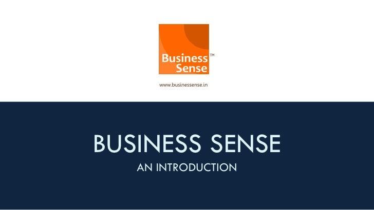 BUSINESS SENSE   AN INTRODUCTION