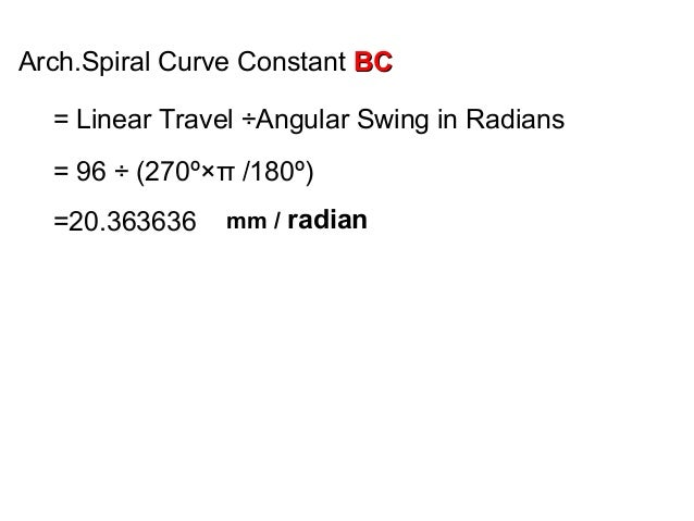 Arch.Spiral Curve Constant BCBC = Linear Travel ÷Angular Swing in Radians = 96 ÷ (270º×π /180º) =20.363636 mm / radian