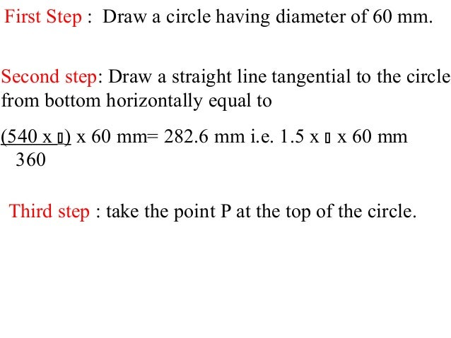 First Step : Draw a circle having diameter of 60 mm. Second step: Draw a straight line tangential to the circle from botto...