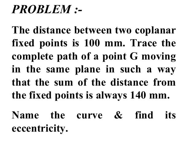 PROBLEM :- The distance between two coplanar fixed points is 100 mm. Trace the complete path of a point G moving in the sa...