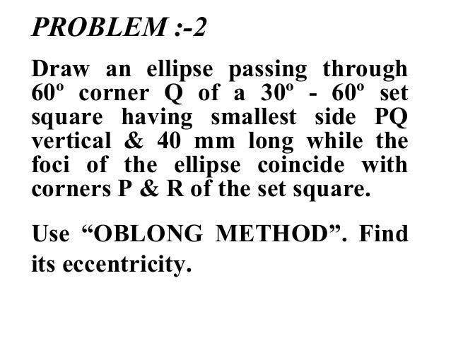 PROBLEM :-2 Draw an ellipse passing through 60º corner Q of a 30º - 60º set square having smallest side PQ vertical & 40 m...