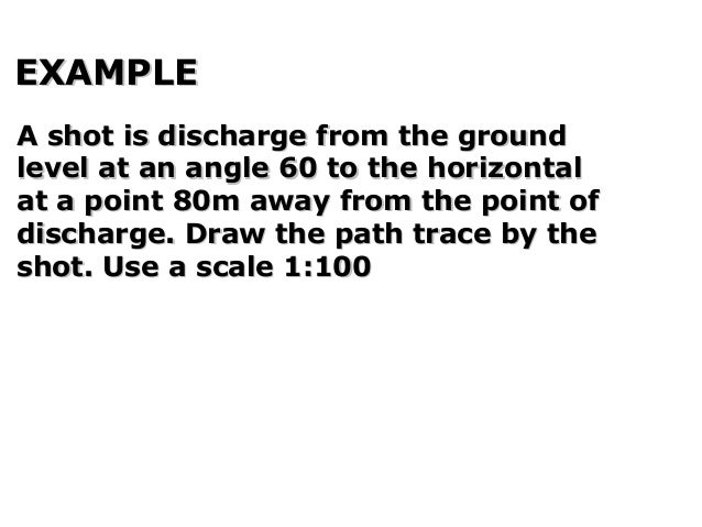 EXAMPLEEXAMPLE A shot is discharge from the groundA shot is discharge from the ground level at an angle 60 to the horizont...