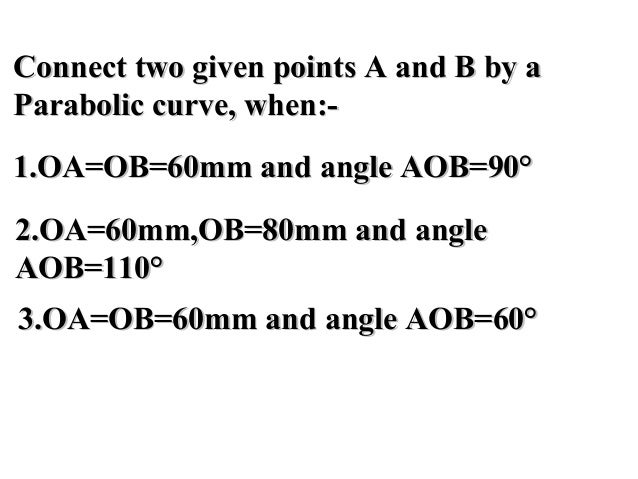 Connect two given points A and B by aConnect two given points A and B by a Parabolic curve, when:-Parabolic curve, when:- ...