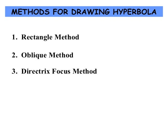 METHODS FOR DRAWING HYPERBOLA 1. Rectangle Method 2. Oblique Method 3. Directrix Focus Method