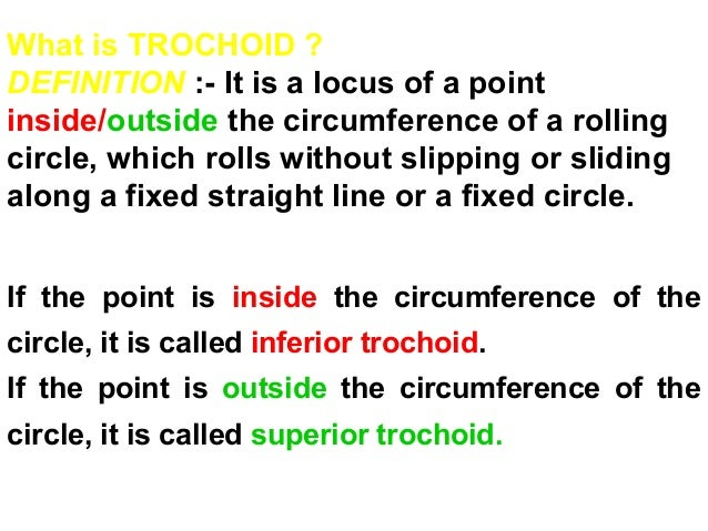 If the point is inside the circumference of the circle, it is called inferior trochoid. If the point is outside the circum...