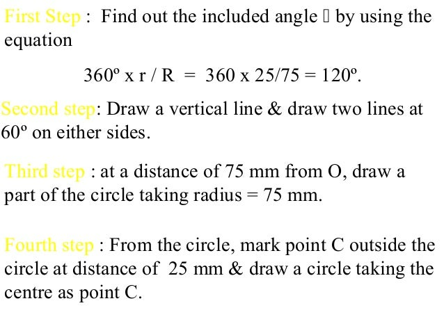 First Step : Find out the included angle  by using the equation 360º x r / R = 360 x 25/75 = 120º. Second step: Draw a ve...