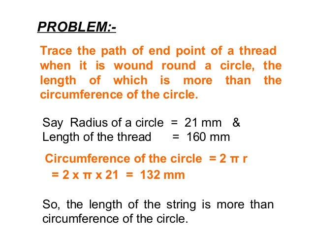 PROBLEM:- Trace the path of end point of a thread when it is wound round a circle, the length of which is more than the ci...