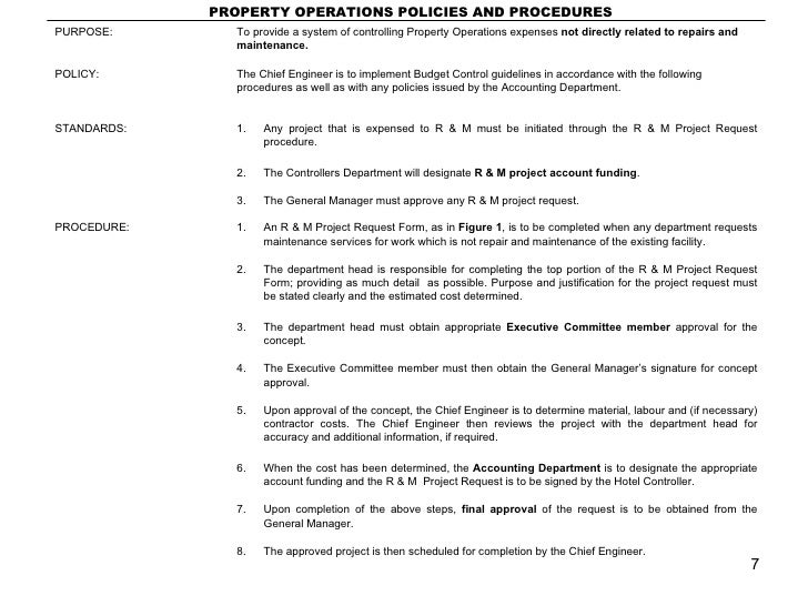 property operations policies and procedures