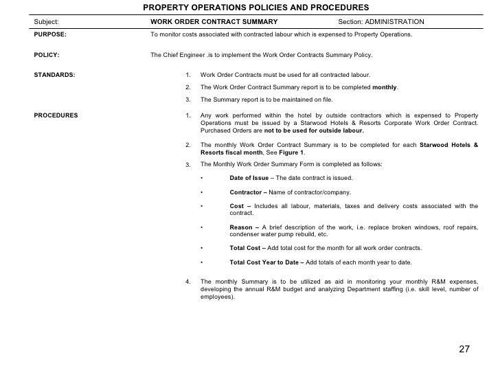 Engineering SOP – Contractor Work Order Form