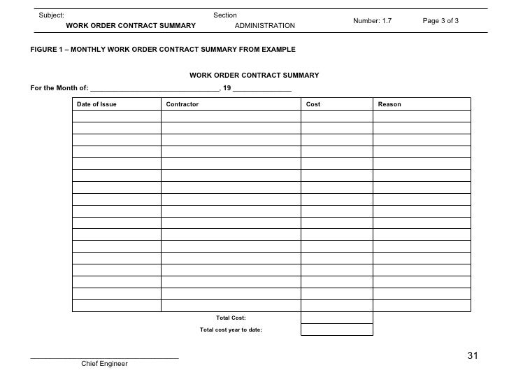 Engineering SOP – Maintenance Work Order Form