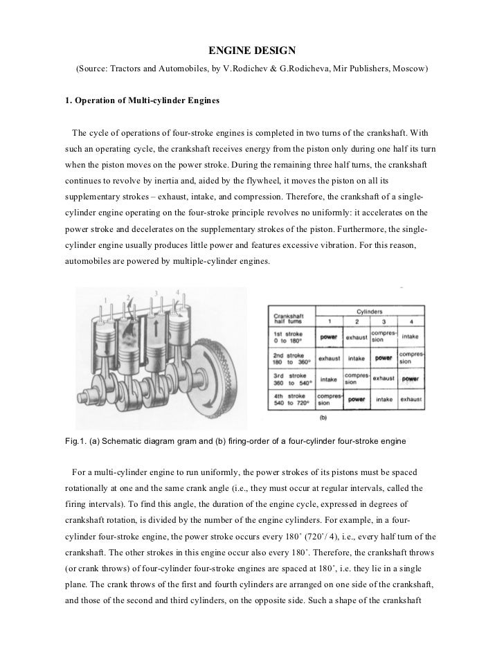 ENGINE DESIGN   (Source: Tractors and Automobiles, by V.Rodichev & G.Rodicheva, Mir Publishers, Moscow)1. Operation of Mul...