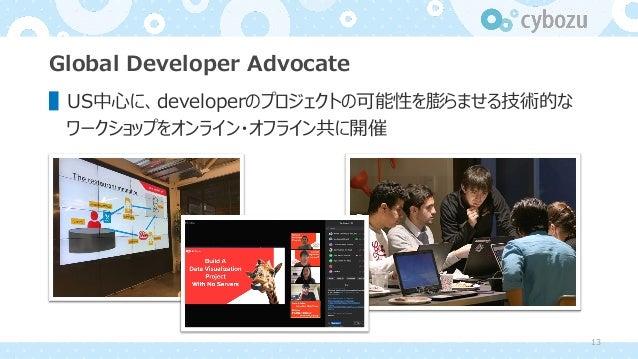 Global Developer Advocate ▌US中⼼に、developerのプロジェクトの可能性を膨らませる技術的な ワークショップをオンライン・オフライン共に開催 13