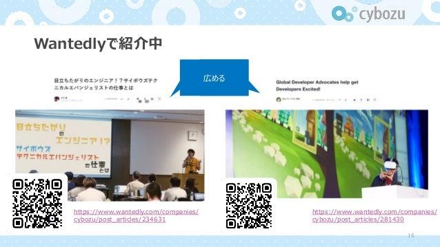 Wantedlyで紹介中 https://www.wantedly.com/companies/ cybozu/post_articles/234631 https://www.wantedly.com/companies/ cybozu/po...
