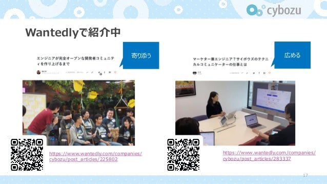 Wantedlyで紹介中 https://www.wantedly.com/companies/ cybozu/post_articles/225802 寄り添う 広める https://www.wantedly.com/companies/ ...