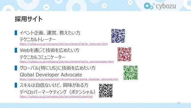 採⽤サイト ▌イベント企画、運営、教えたい⽅ テクニカルトレーナー https://cybozu.co.jp/company/job/recruitment/list/tc_instructor.html ▌Webを通じて技術を広めたい⽅ テク...