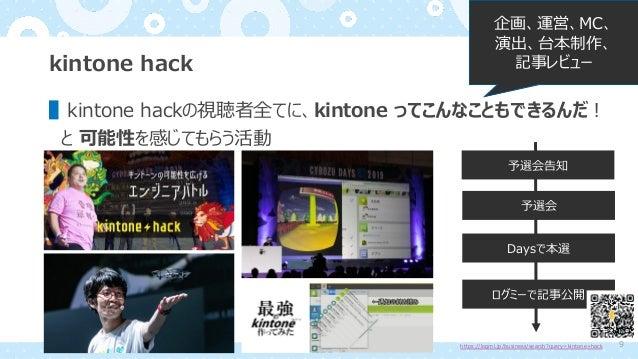 kintone hack ▌kintone hackの視聴者全てに、kintone ってこんなこともできるんだ︕ と 可能性を感じてもらう活動 予選会告知 予選会 Daysで本選 ログミーで記事公開 https://logmi.jp/busin...