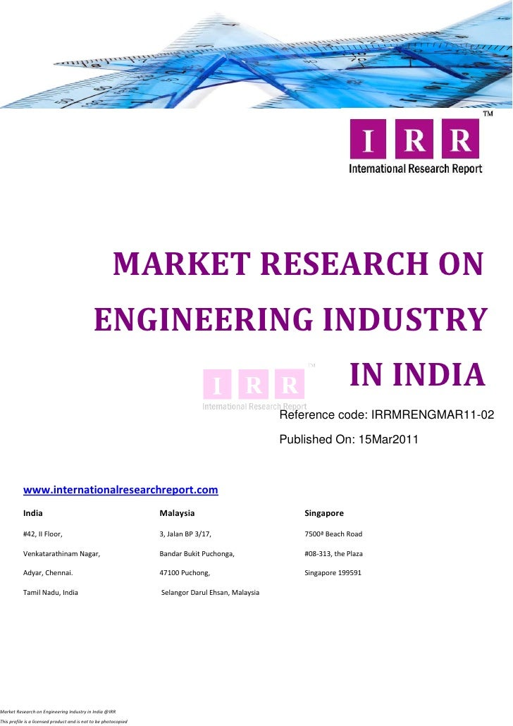MARKET RESEARCH ON                                              ENGINEERING INDUSTRY                                      ...