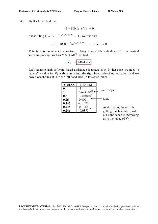 Engineering Circuit Analysis Solutions 7ed Hayt