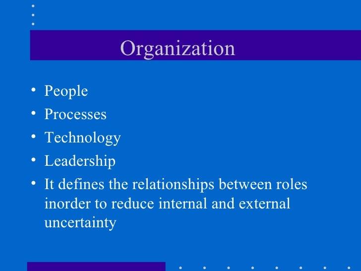Organization  <ul><li>People </li></ul><ul><li>Processes </li></ul><ul><li>Technology </li></ul><ul><li>Leadership  </li><...