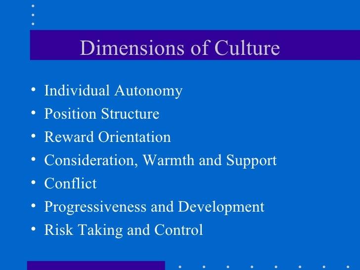 Dimensions of Culture <ul><li>Individual Autonomy </li></ul><ul><li>Position Structure </li></ul><ul><li>Reward Orientatio...