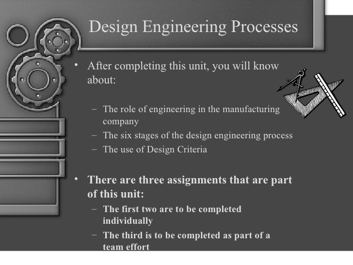 Design Engineering Processes <ul><li>After completing this unit, you will know about: </li></ul><ul><ul><li>The role of en...