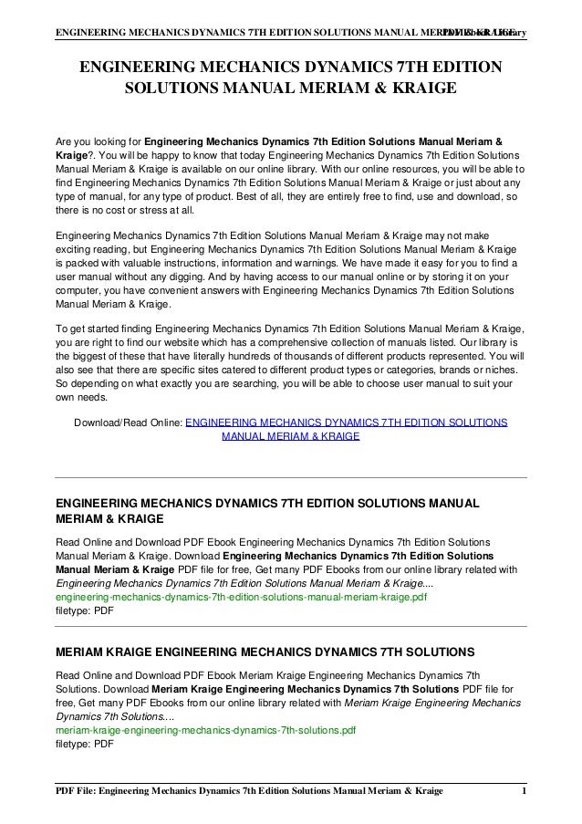 Engineering mechanics dynamics 7th edition solution manual pdf engineering fandeluxe Gallery