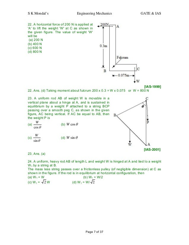 engineering mechanics question and answers for gate ias rh slideshare net Force of Gravity Force Vector Diagrams