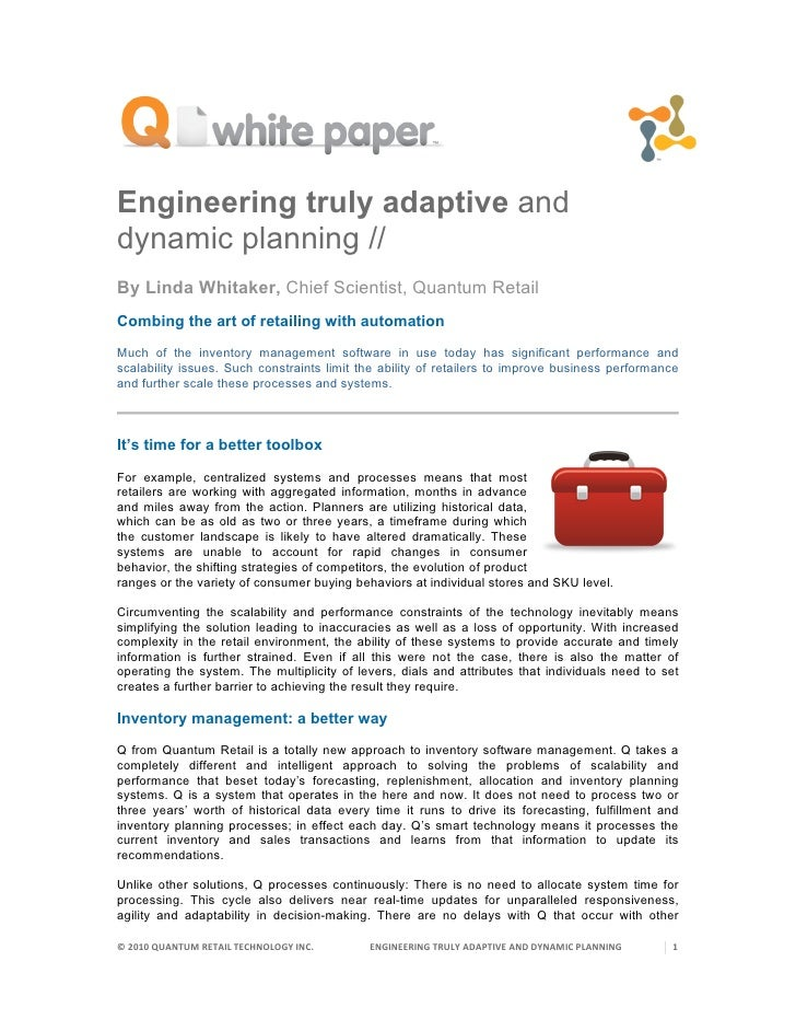 Engineering truly adaptive and dynamic planning // By Linda Whitaker, Chief Scientist, Quantum Retail Combing the art of r...