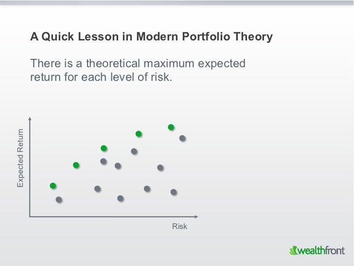 A Quick Lesson in Modern Portfolio Theory                  There is a theoretical maximum expected                  return...