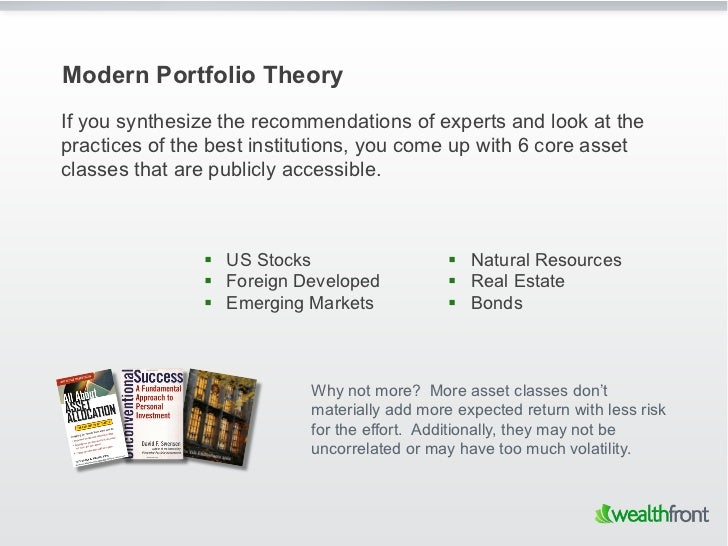 Modern Portfolio TheoryIf you synthesize the recommendations of experts and look at thepractices of the best institutions,...