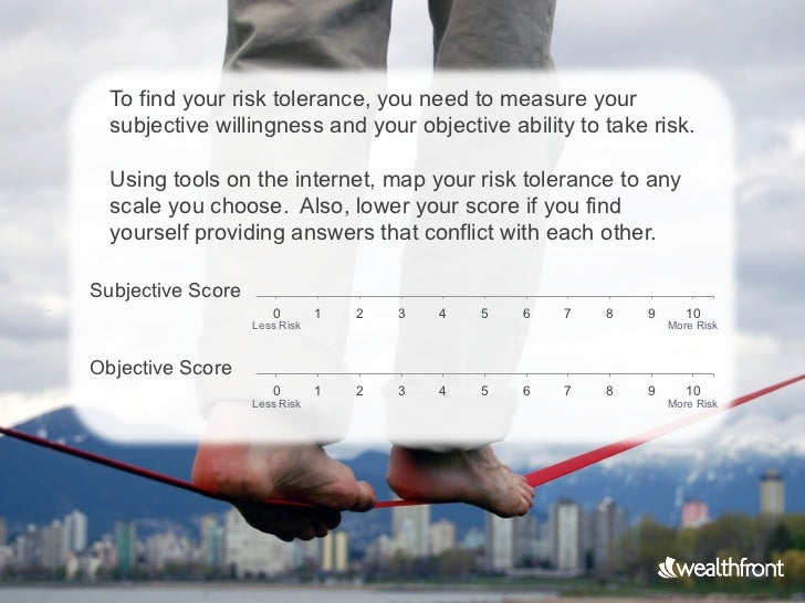 To find your risk tolerance, you need to measure your  subjective willingness and your objective ability to take risk.  Us...