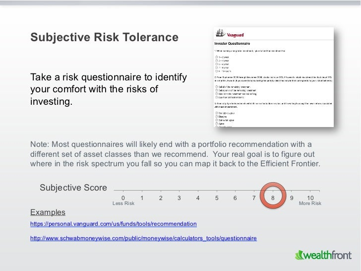 Subjective Risk ToleranceTake a risk questionnaire to identifyyour comfort with the risks ofinvesting.Note: Most questionn...
