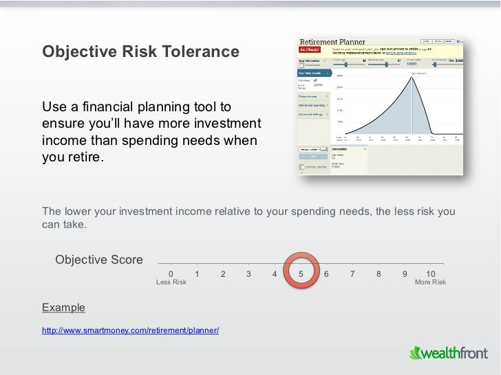 Objective Risk ToleranceUse a financial planning tool toensure you'll have more investmentincome than spending needs wheny...