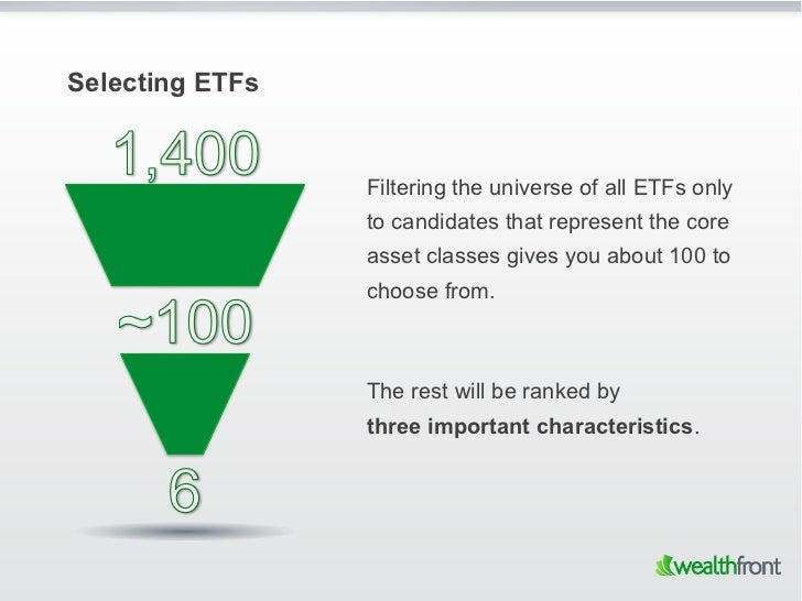 Selecting ETFs                 Filtering the universe of all ETFs only                 to candidates that represent the co...