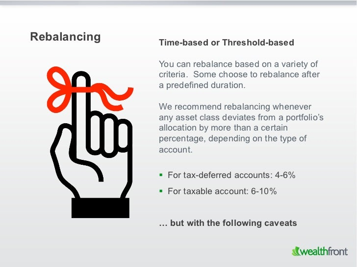Rebalancing   Time-based or Threshold-based              You can rebalance based on a variety of              criteria. So...