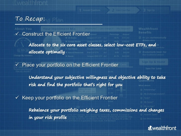 To Recap: Construct the Efficient Frontier      Allocate to the six core asset classes, select low-cost ETFs, and      a...