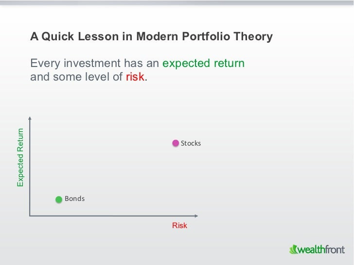 A Quick Lesson in Modern Portfolio Theory                  Every investment has an expected return                  and so...