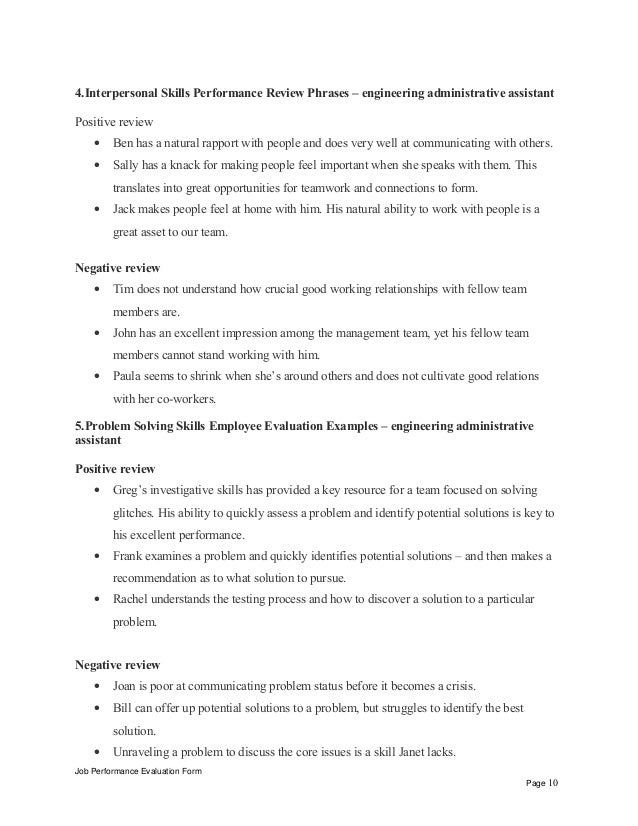 Engineering administrative assistant performance appraisal job performance evaluation form page 9 10 4erpersonal skills performance review phrases engineering administrative thecheapjerseys Image collections